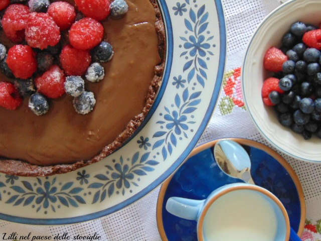 black forest, torta, cioccolato, frutta