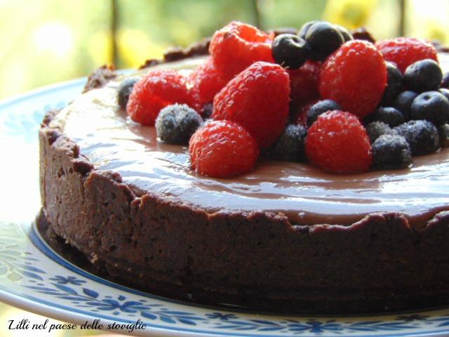 torta, cioccolato, black forest, frutta