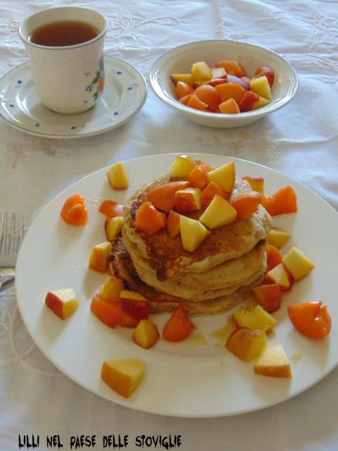 pancake, sciroppo d'acero, spezie, frutta, america