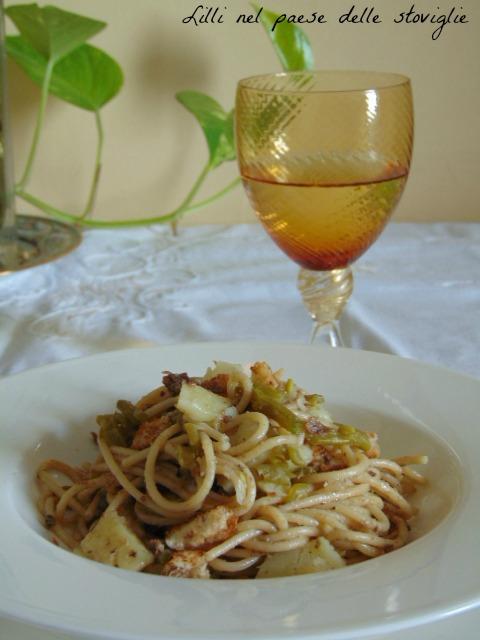 primo, acciughe, olive, capperi, patate, spaghetti, fagiolini