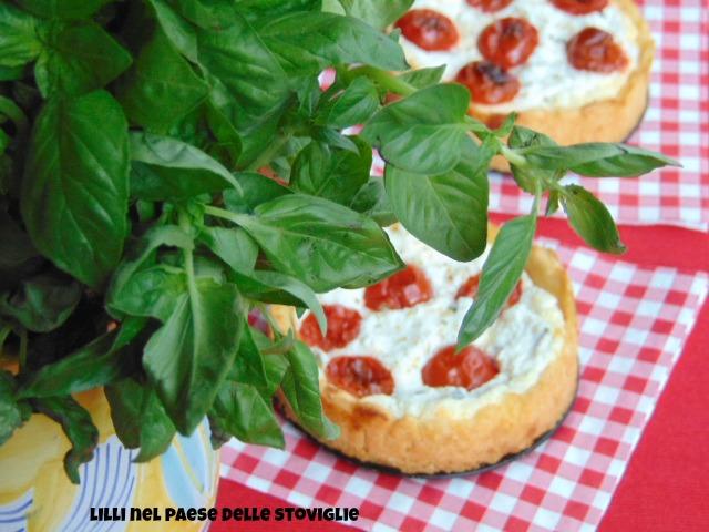 tarte, ciliegini, ricotta, parmigiano, basilico