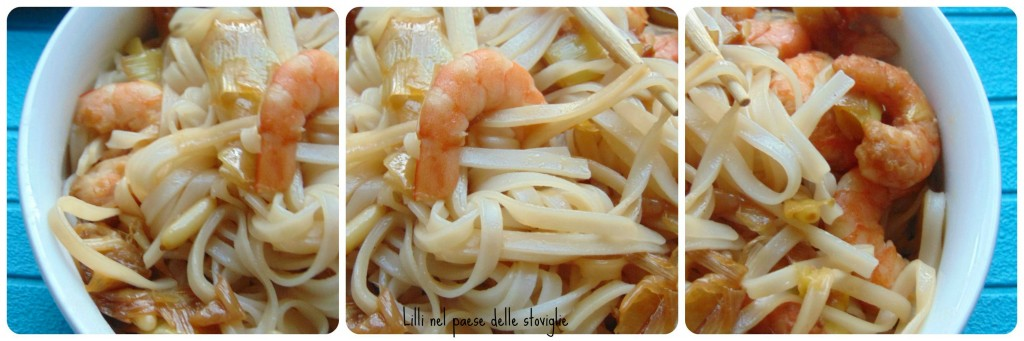 pesce, mazzancolle, porri, pinoli, primo, noodles, oriente
