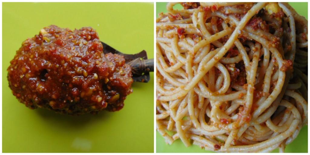 pesto, spaghetti, pistacchi, pomodori secchi, primo piatto, integrale
