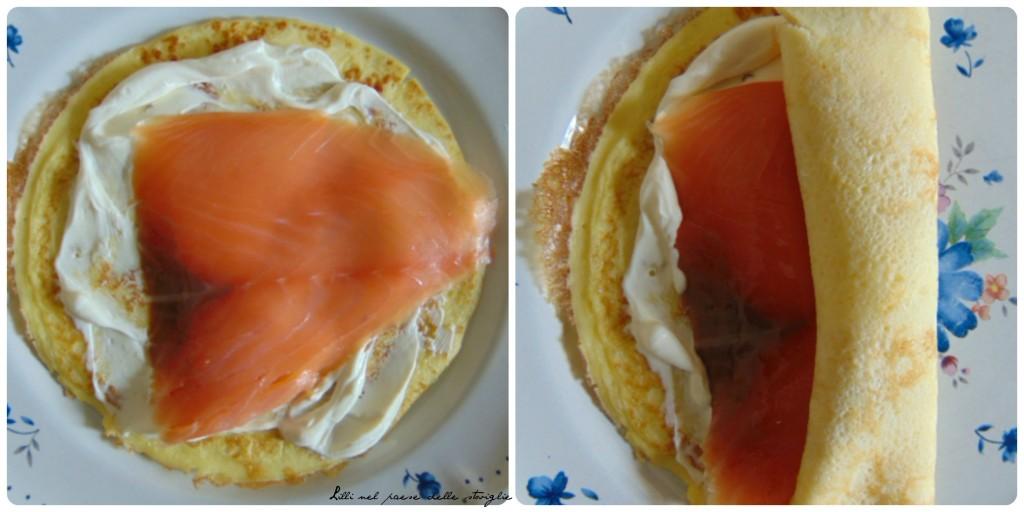 rotelle, uova, creme fraiche, salmone, finger food, antipasti