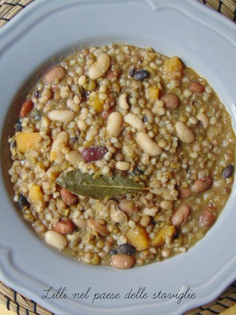 minestra, cereali, legumi, zucca, verdure, primi