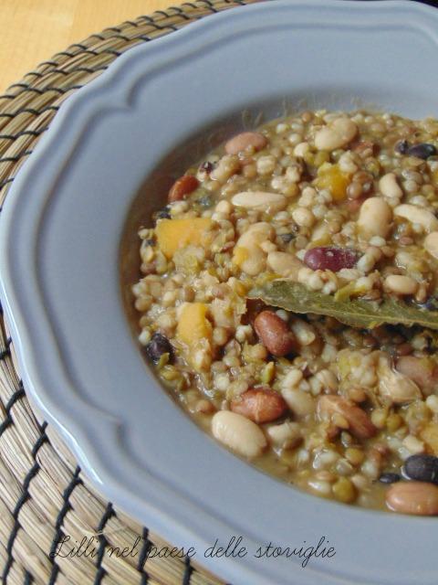 minestra, primi, zucca, verdure, cereali, legumi