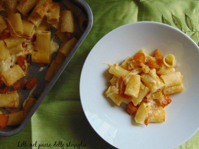 pasta, primi, verdure, zucca, formaggio, fontina, speck, salumi