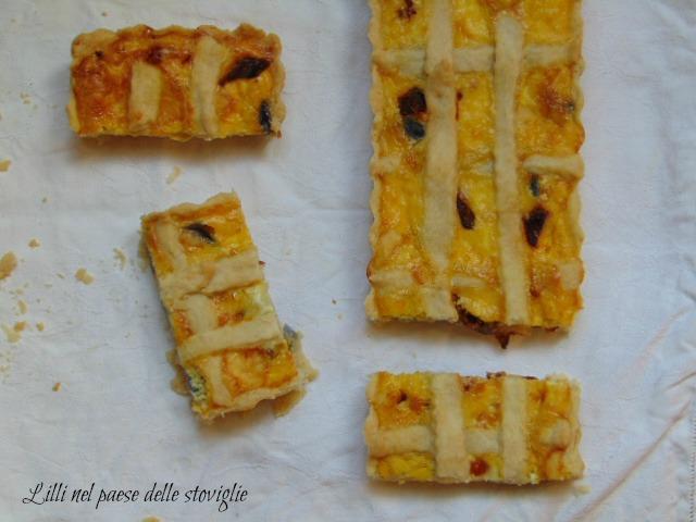 torta salata, brisee, patate viola, formaggio, provola, pomodori secchi, crostata, quiche