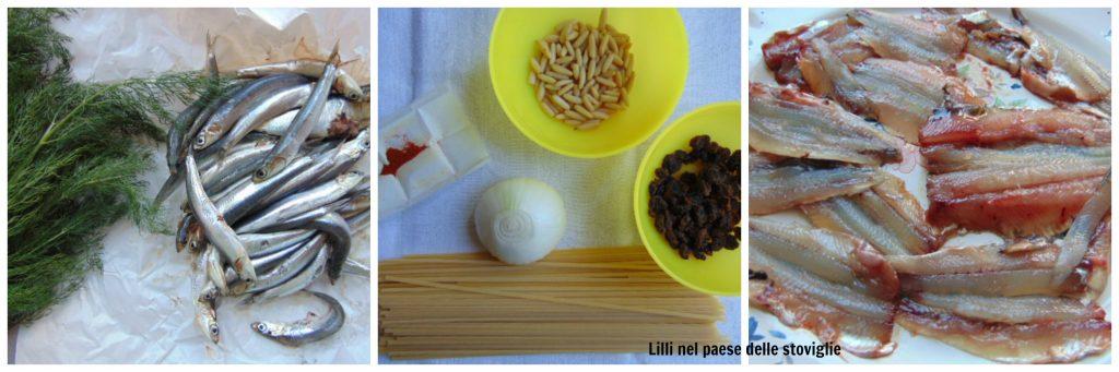 pasta, primi, acciughe, pesce, erbe, finocchietto, frutta secca, pinoli, uvetta, regionale, pasta