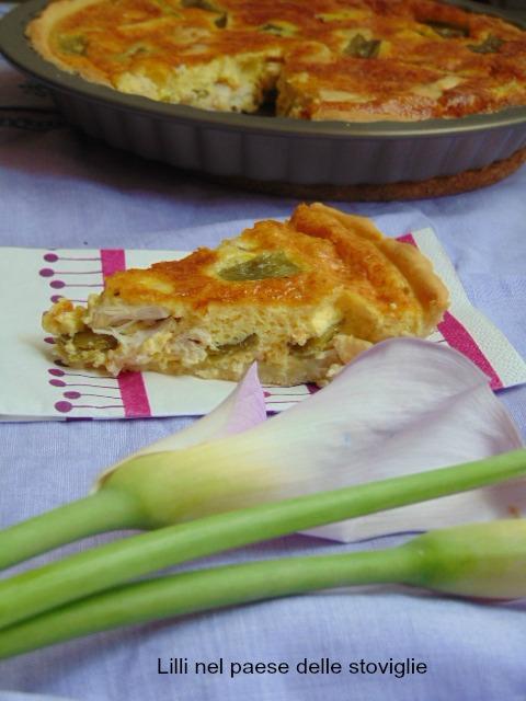 quiche, torta salata, pasta matta, verdure, taccole, pollo, carne