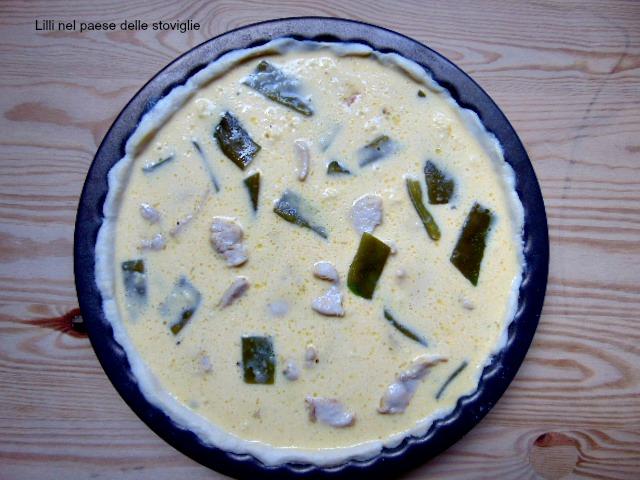 quiche, francia, torta salata, pic nic, pasta matta, pollo, carne, verdure, taccole