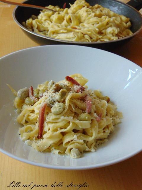 fave, legumi, speck, salumi, pecorino, formaggio, primi piatti, pasta fresca, pasta all'uovo, tagliatelle