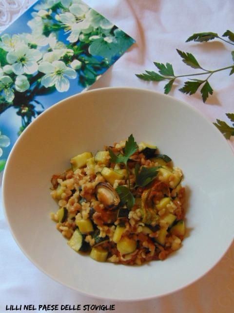 fregola, sardegna, cozze, pesce, primi, regionale, zucchine, fiori di zucca, verdure