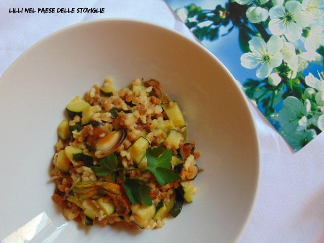 fiori di zucca, zucchine, verdure, cozze, pesce, fregola,primi, sardegna, regionale