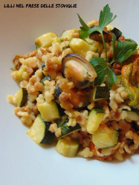 fiori di zucca, zucchine, verdure, fregola, primi, sardegna, regionale, pesce, cozze