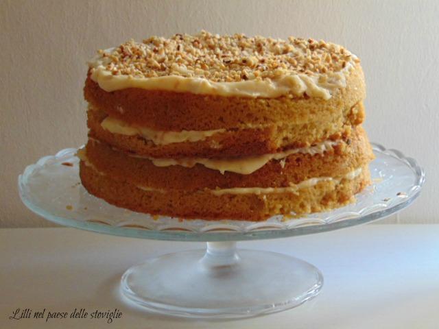 torta, cake, dolci, caramello, cassonade, crema, frutta secca, nocciole