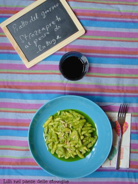pasta, primi, strozzapreti, lattuga, verdure, pesto