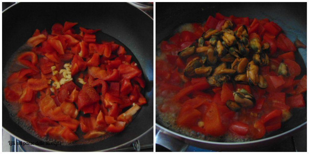 spaghetti, pasta, primi, verdure, peperoni, cozze, pesce