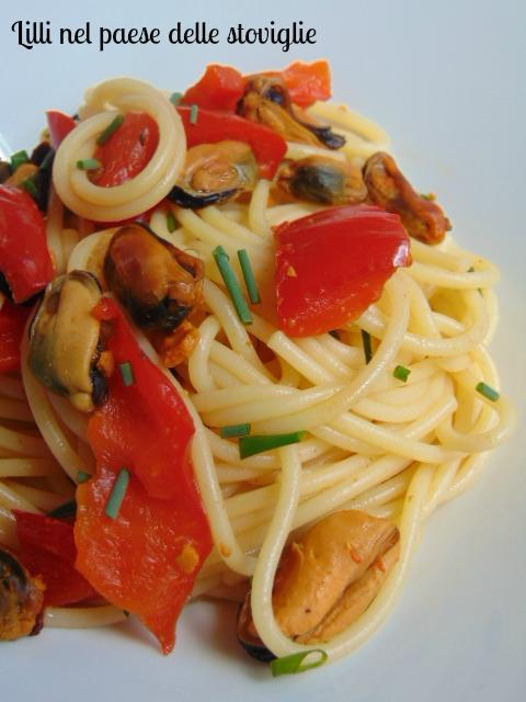 spaghetti, primi, pasta, cozze, pesce, peperoni, verdure