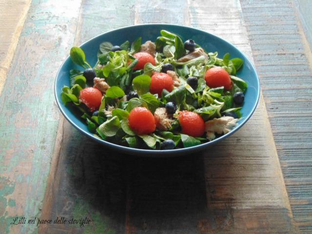 valeriana, insalata, anguria, mirtilli, tonno, pesce, valeriana