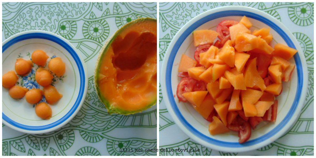 zuppa, melone, frutta, verdure, pomodori, primi, formaggio, fiocchi di latte
