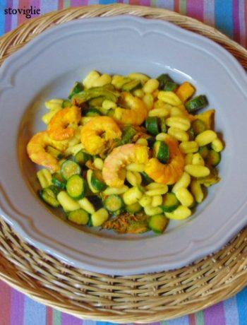 cavatelli, zucchine, pasta fresca, pasta, primi, verdure, fiori di zucca, mazzancolle, pesce, spezie, zafferano