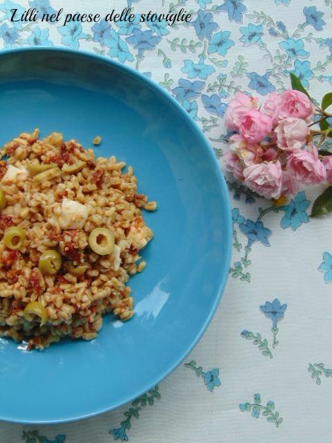 grano saraceno, olive, acciughe, pesce, primi, cereali, pomodori secchi