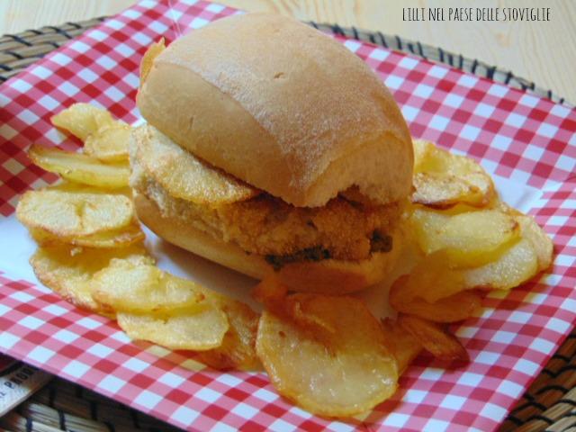 hamburger, merluzzo, pesce, patate, fritto, pesto, panini