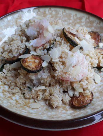 bulgur, cereali, mandorle, frutta secca, zucchine, verdure