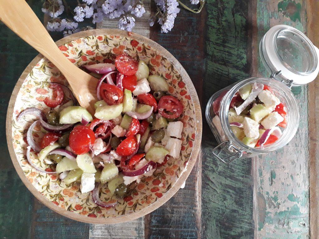 insalata greca, verdure, dal mondo, feta, olive