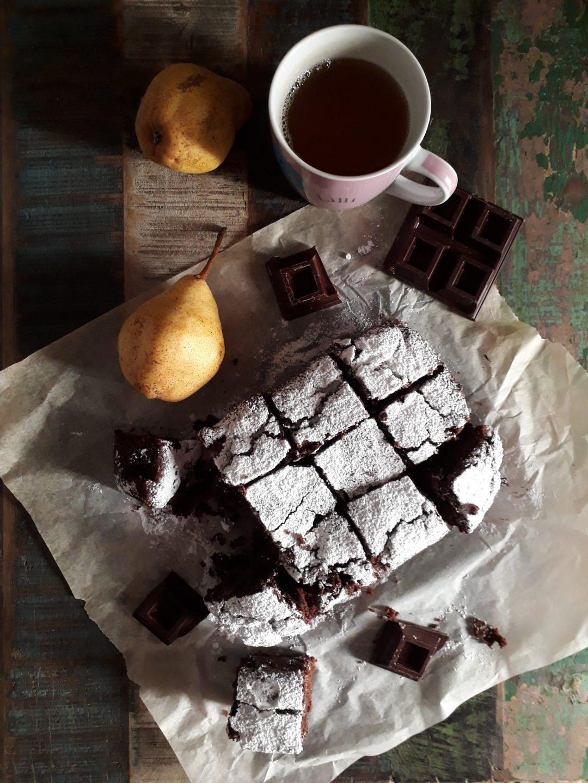 dolce morbido pere e cioccolato