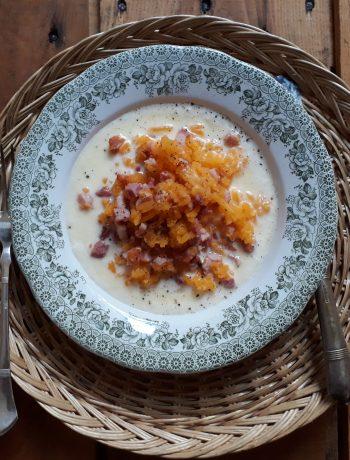 zucca con dadini di pancetta e fonduta