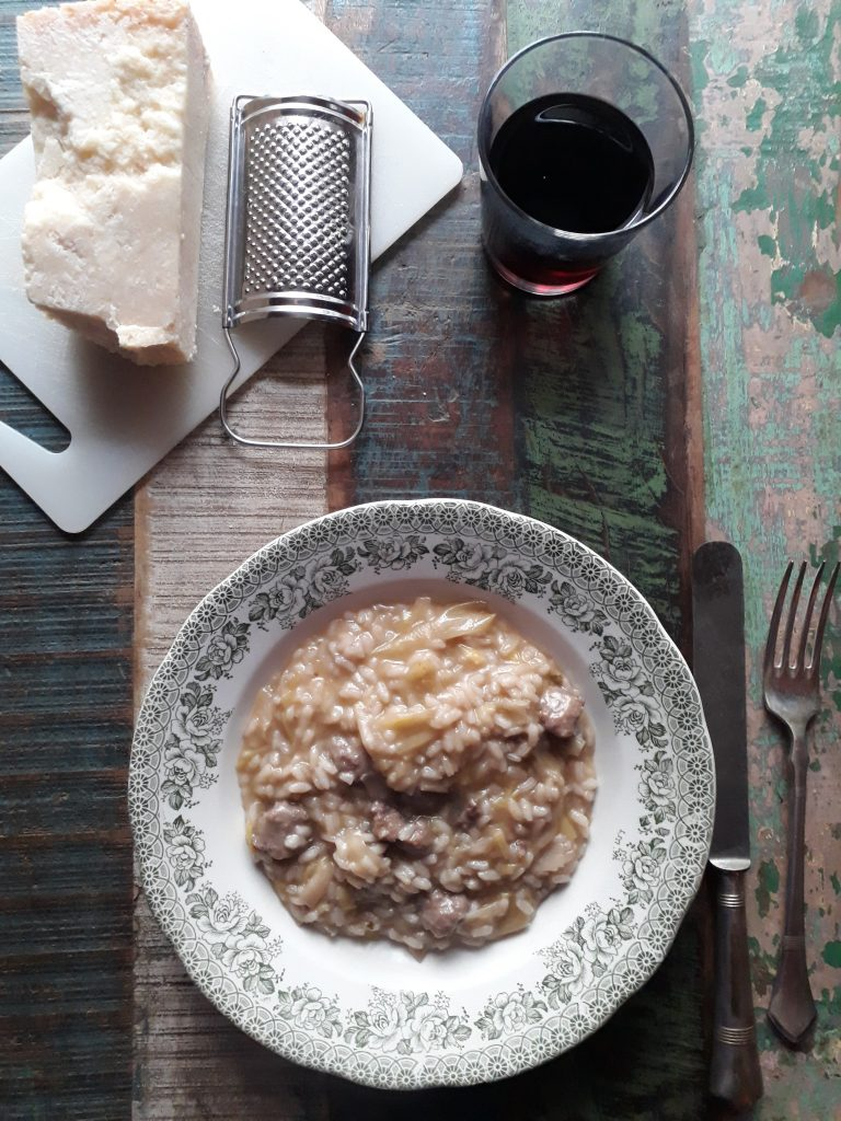 risotto con porri e salsiccia luganega