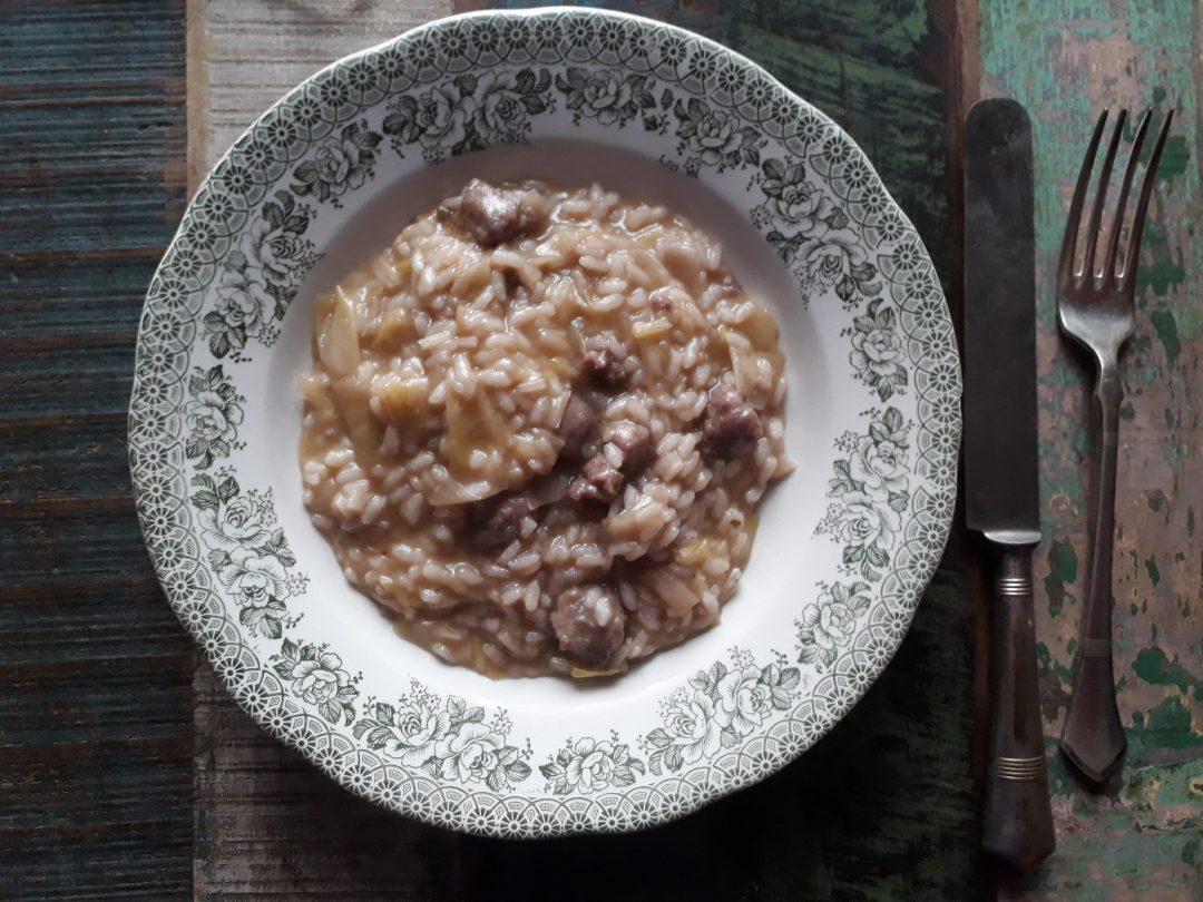 risotto con la salsiccia e i porri