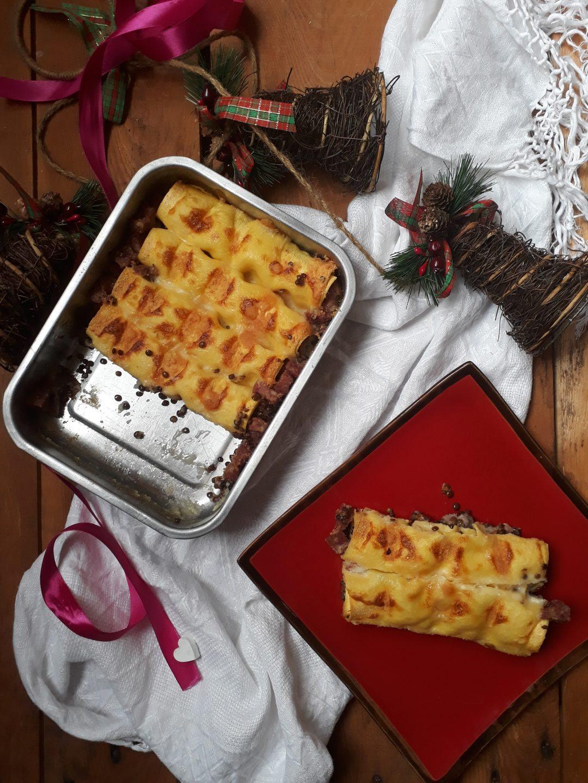 cannelloni con cotechino tritato e lenticchie