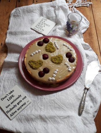 torta alle ciliegie e crema al pistacchio