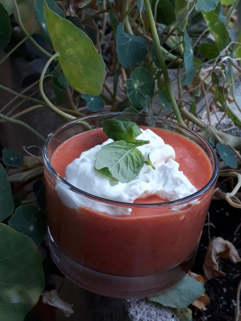 crema con pomodorini e stracciatella