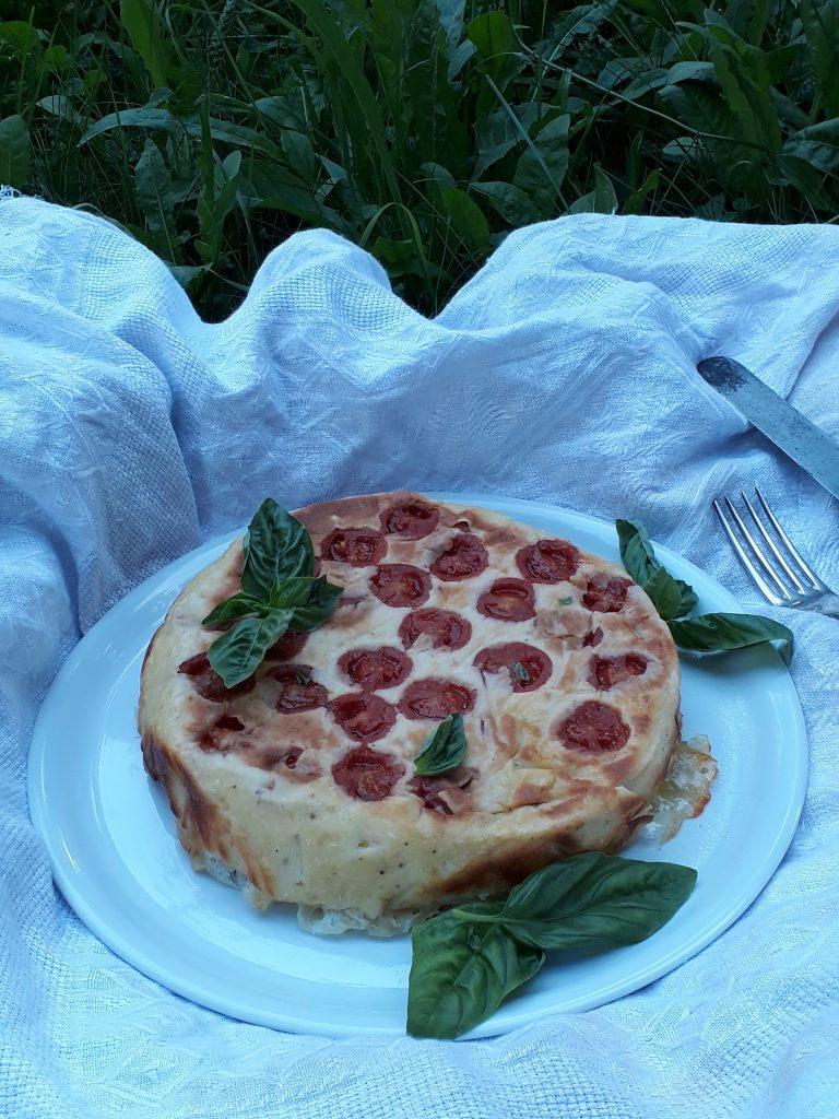 tortino di acciughe pomodori e mozzarella