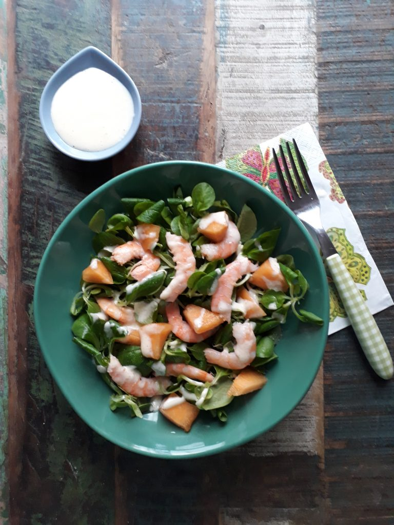insalata con melone gamberi maionese con aglio