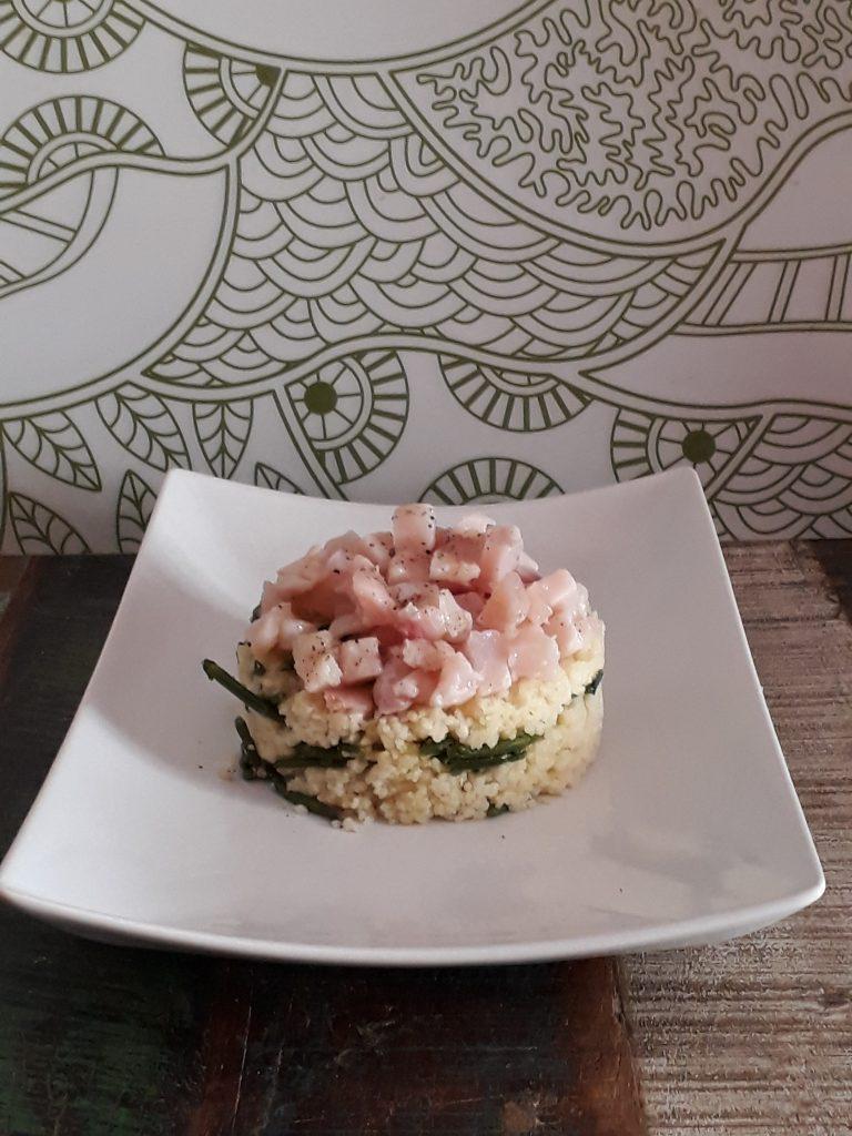 cous cous con zucchine pesce spada e salicornia