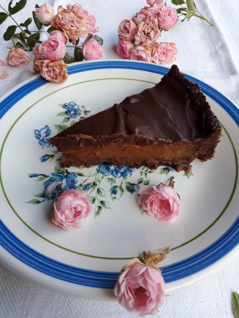 torta con gelo di melone e ganache al cioccolato