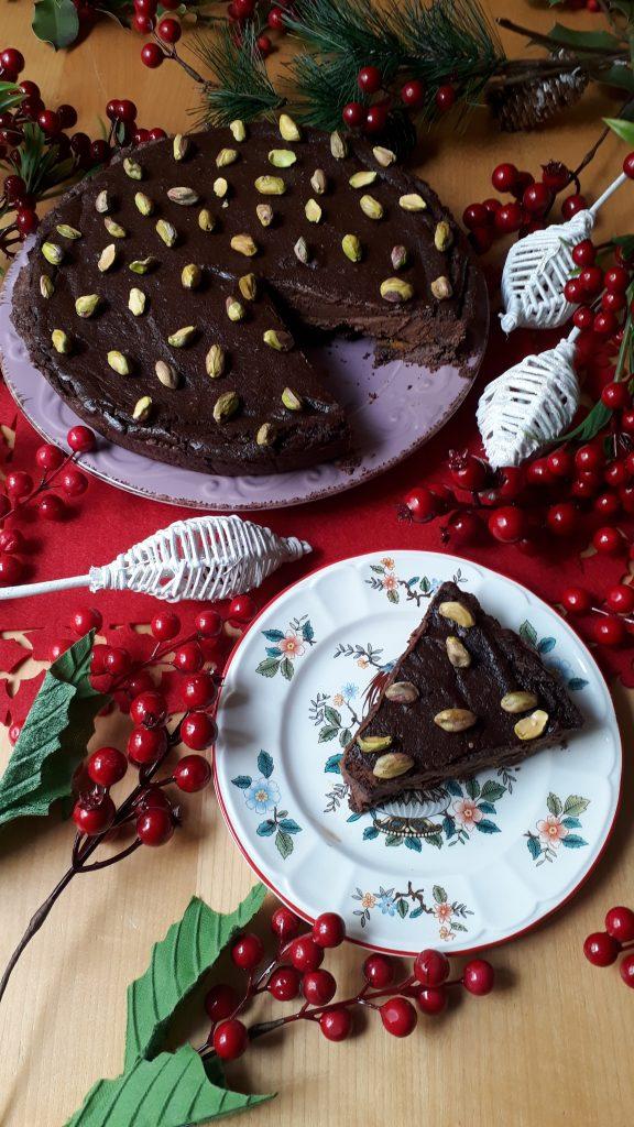 torta con crema al cioccolato e crema di zucca