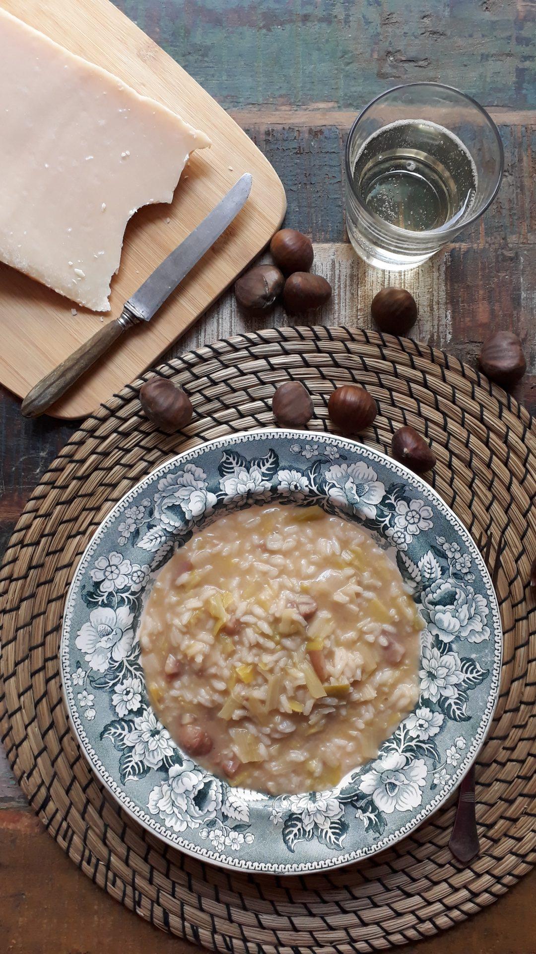 risotto con i porri e la castagne